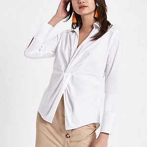 White tie knot front shirt