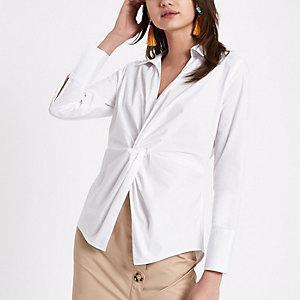 Wit overhemd met strik voor
