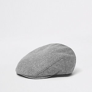 Grey herringbone flat cap