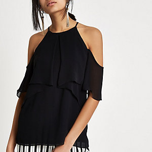 Black chiffon frill cold shoulder top