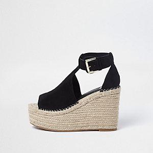 Chaussures compensées noires à plateforme style espadrilles