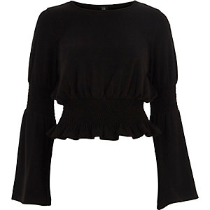 Black shirred hem bell sleeve knitted top