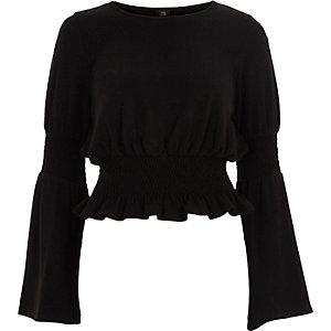 Black shirred hem bell sleeve knitted top