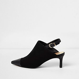 Black pointed toe kitten heel buckle mules