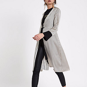 Cream satin stripe twist front kimono