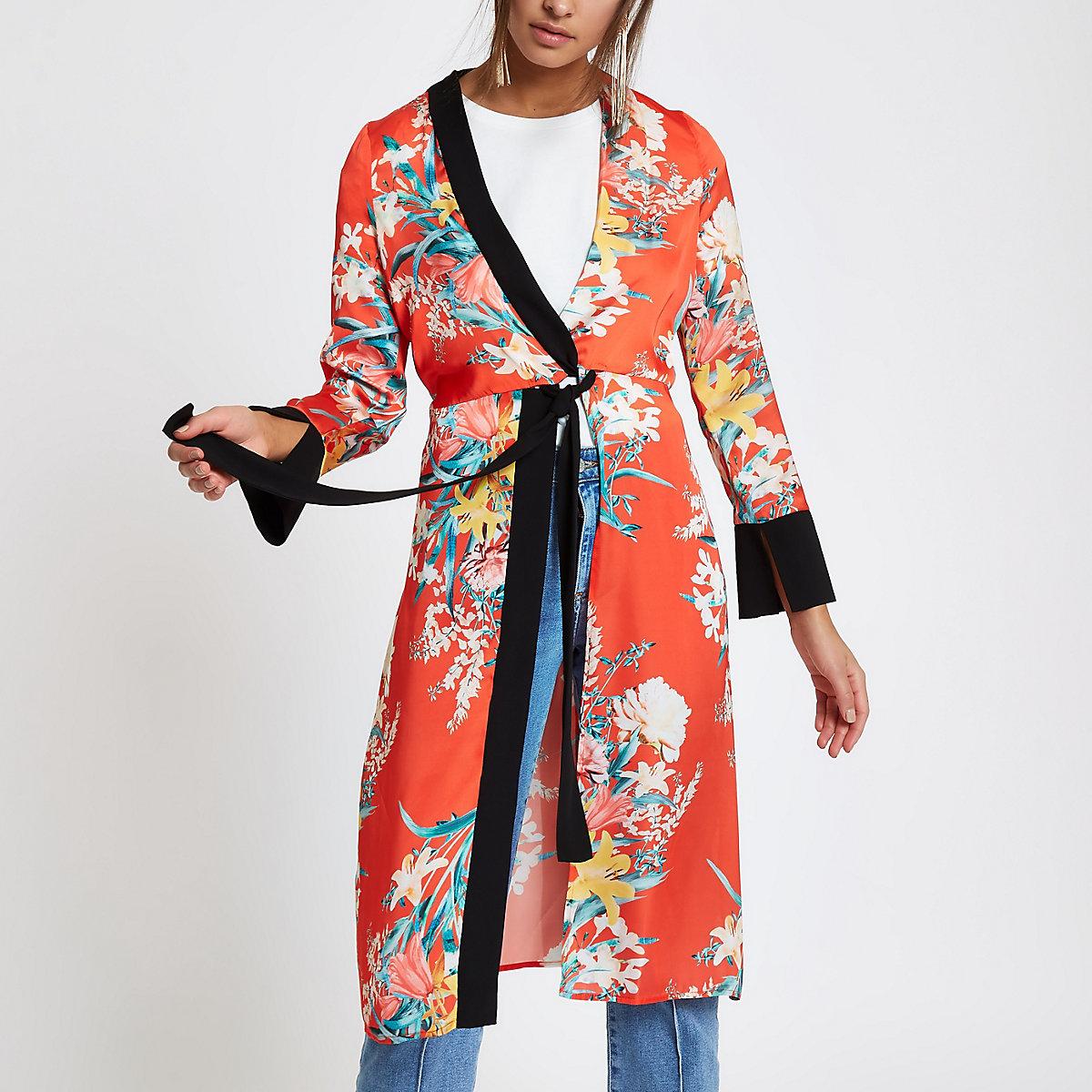 Red tropical print twist front kimono
