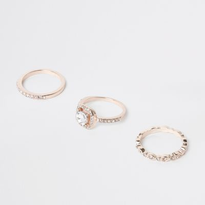 Rose Gold Diamante Ring Pack by River Island