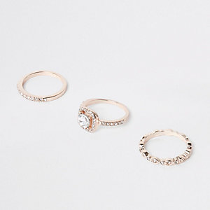 Rose gold diamante ring pack
