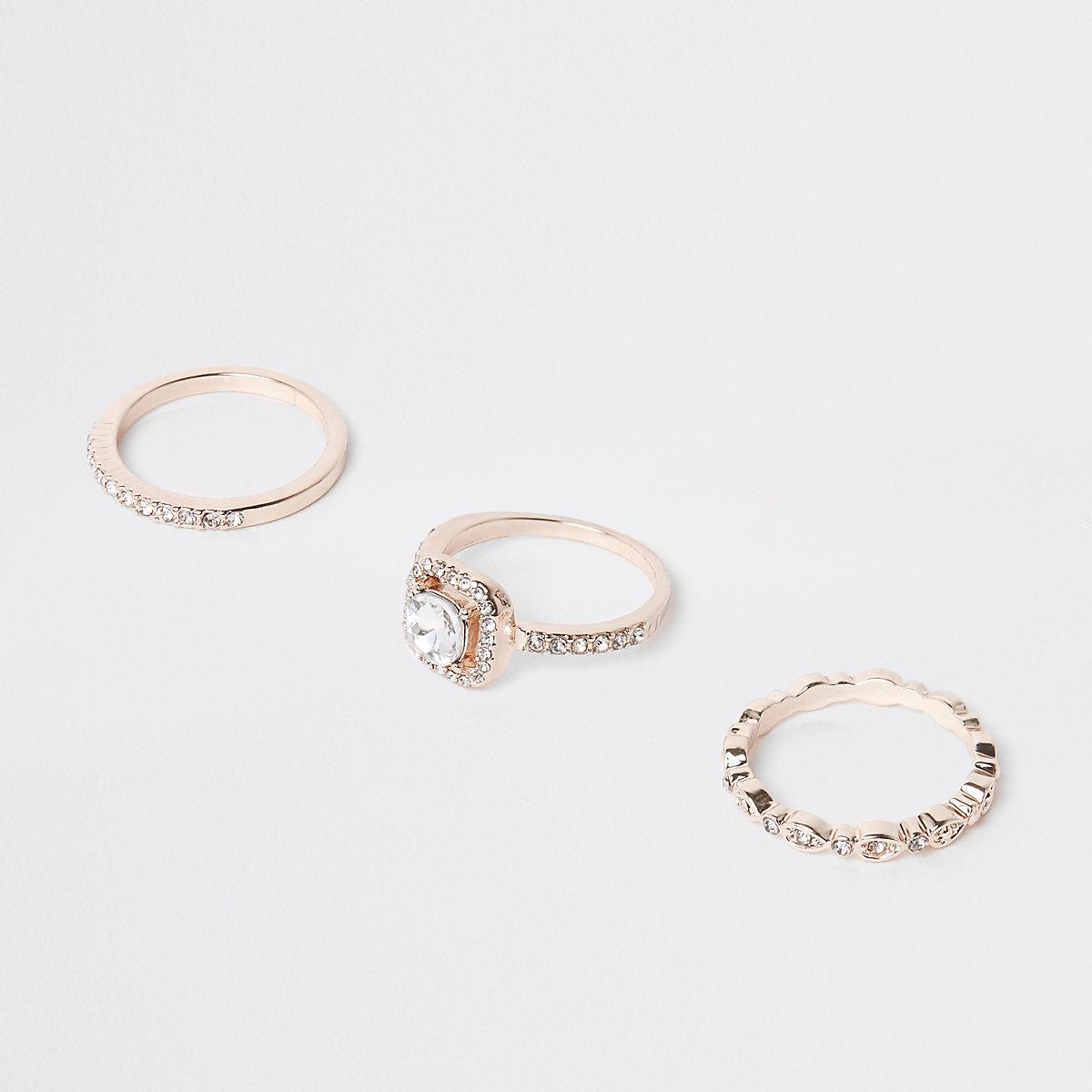 Rose gold rhinestone ring pack