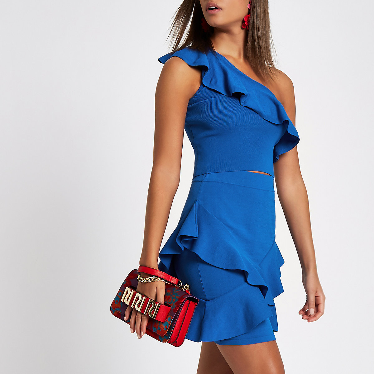 Blue frill fitted pencil skirt