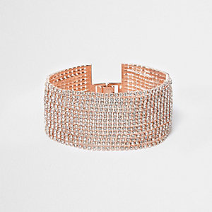 Rose gold tone multi layer rhinestone bracelet