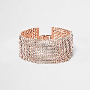 Bracelet multi-rangs or rose orné de strass