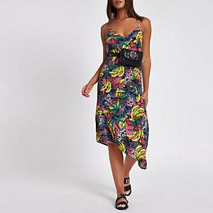 Pinkes, asymmetrisches Strandkleid mit Print