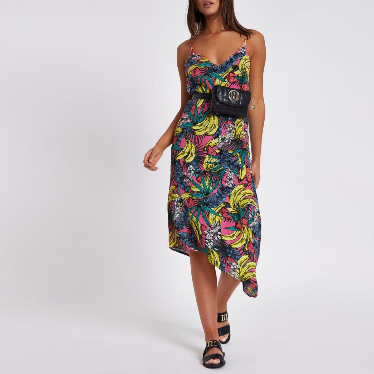 Pink banana print asymmetric hem beach dress