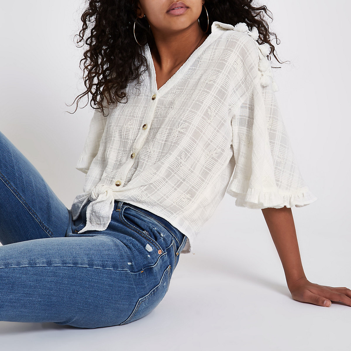 Cream embroidered tie front cropped shirt
