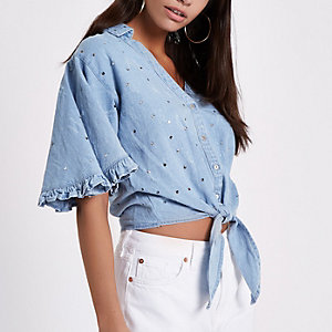 Blue sequin knot front cropped denim shirt