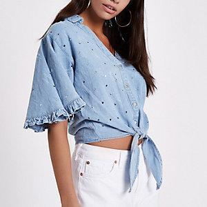 Blauw cropped denim overhemd met knoop voor en pailletten