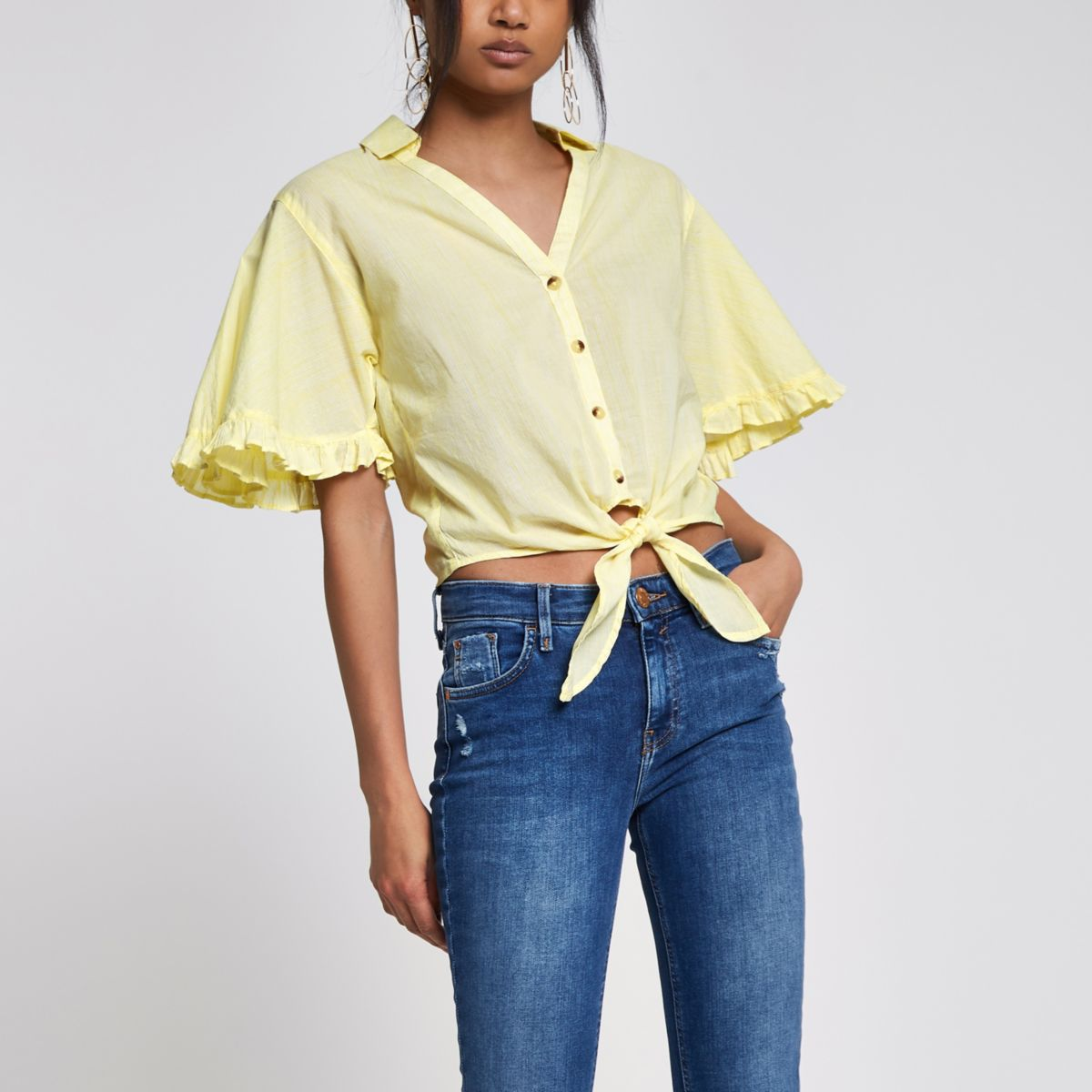 Yellow stripe frill tie front cropped shirt