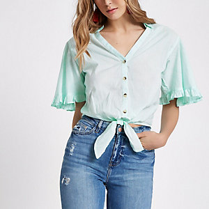 Green stripe tie hem cropped shirt