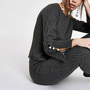 Dark grey pinstripe faux pearl sleeve top