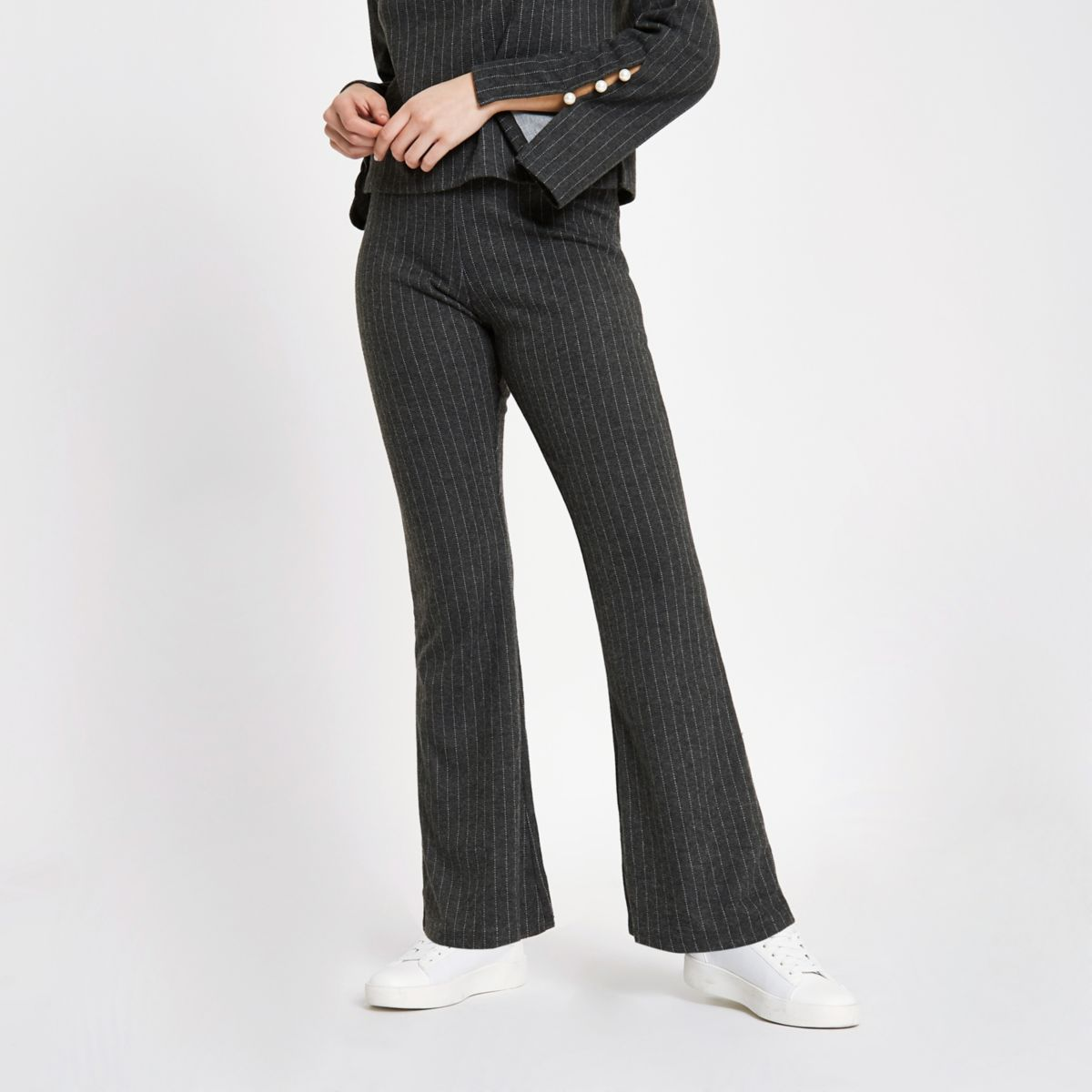 Grey pinstripe knit pants