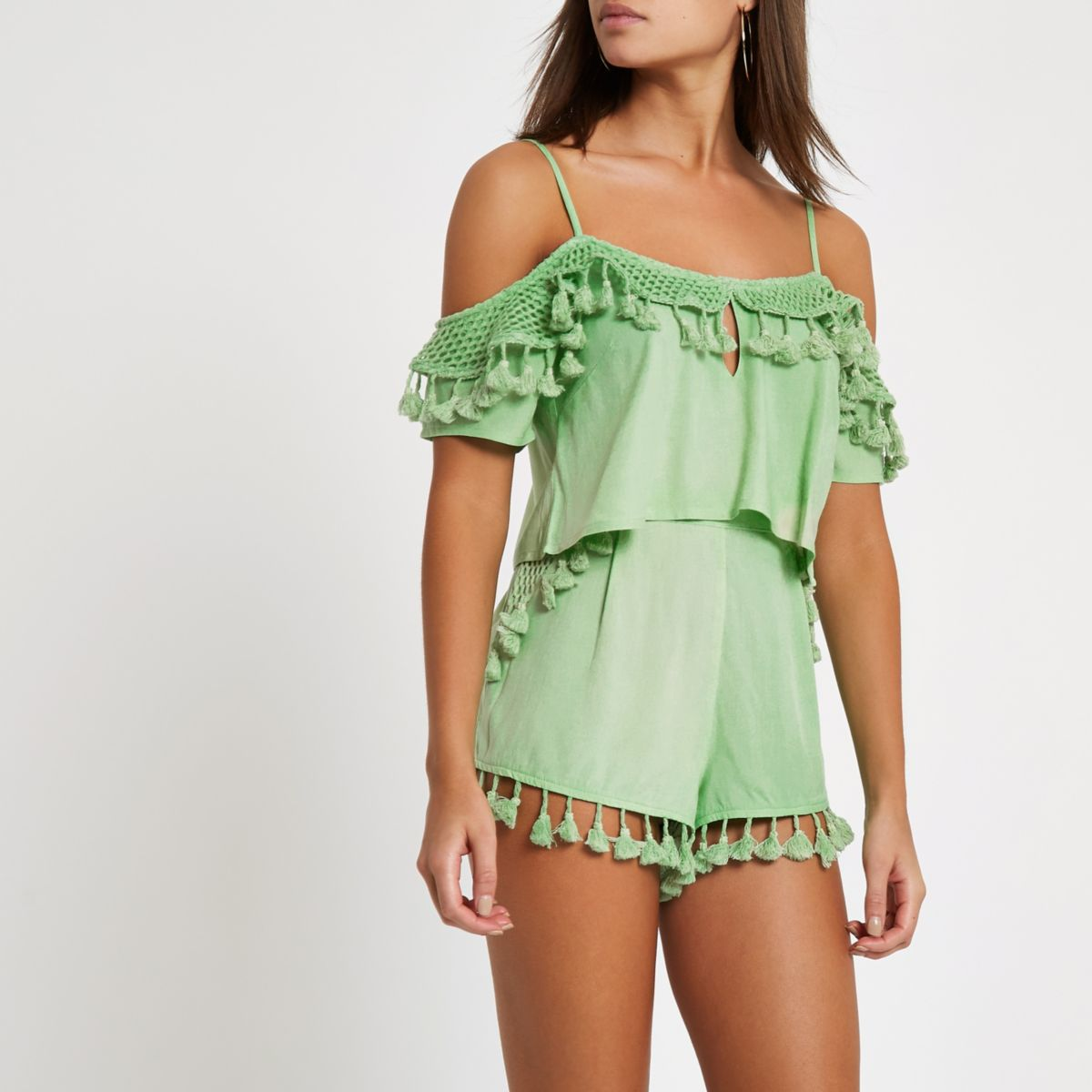 Green tassel trim cami beach crop top
