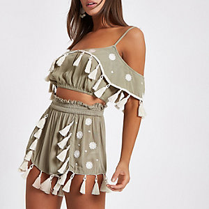 Khaki tassel trim beach crop top