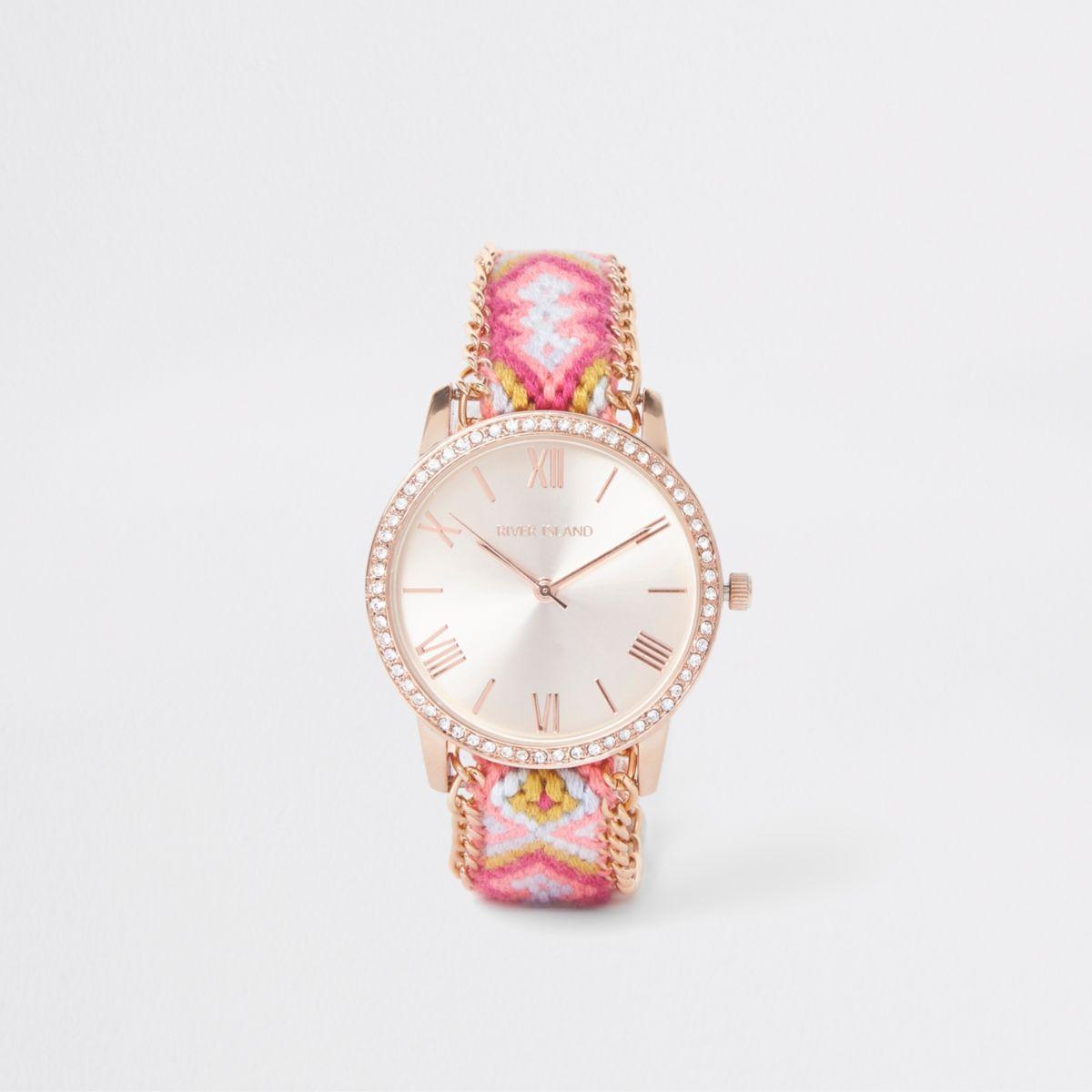 Pink woven round face diamante lariat watch