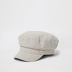 Cream herringbone twill baker boy hat