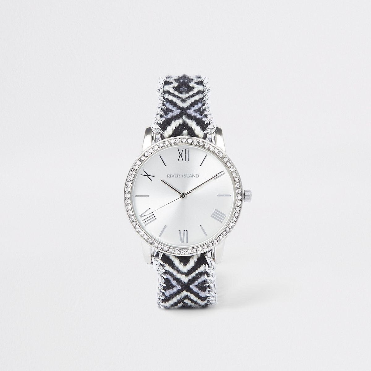 Black contrast aztec print watch