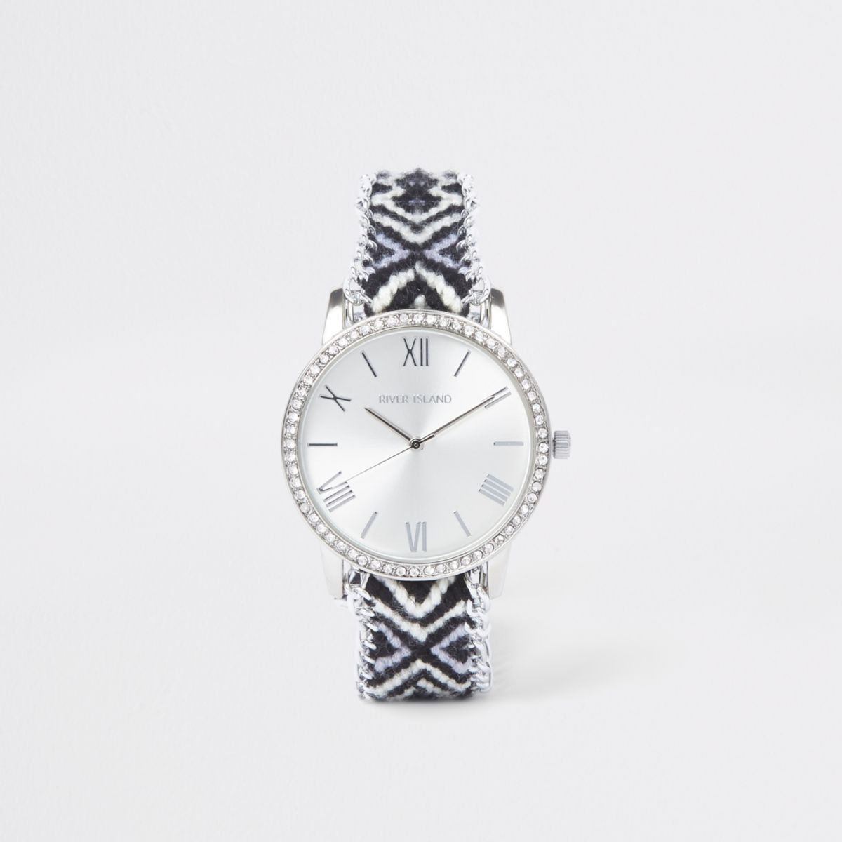 Black contrast aztec print watch