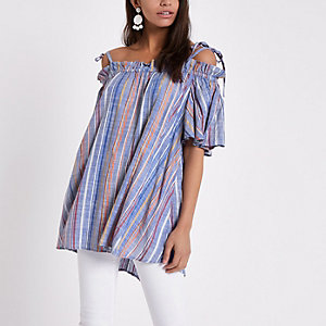 Blue stripe bow cold shoulder top