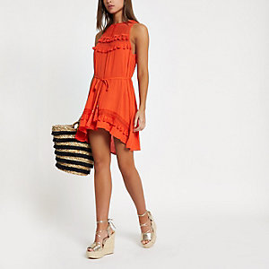 Red mesh insert tassel trim beach dress