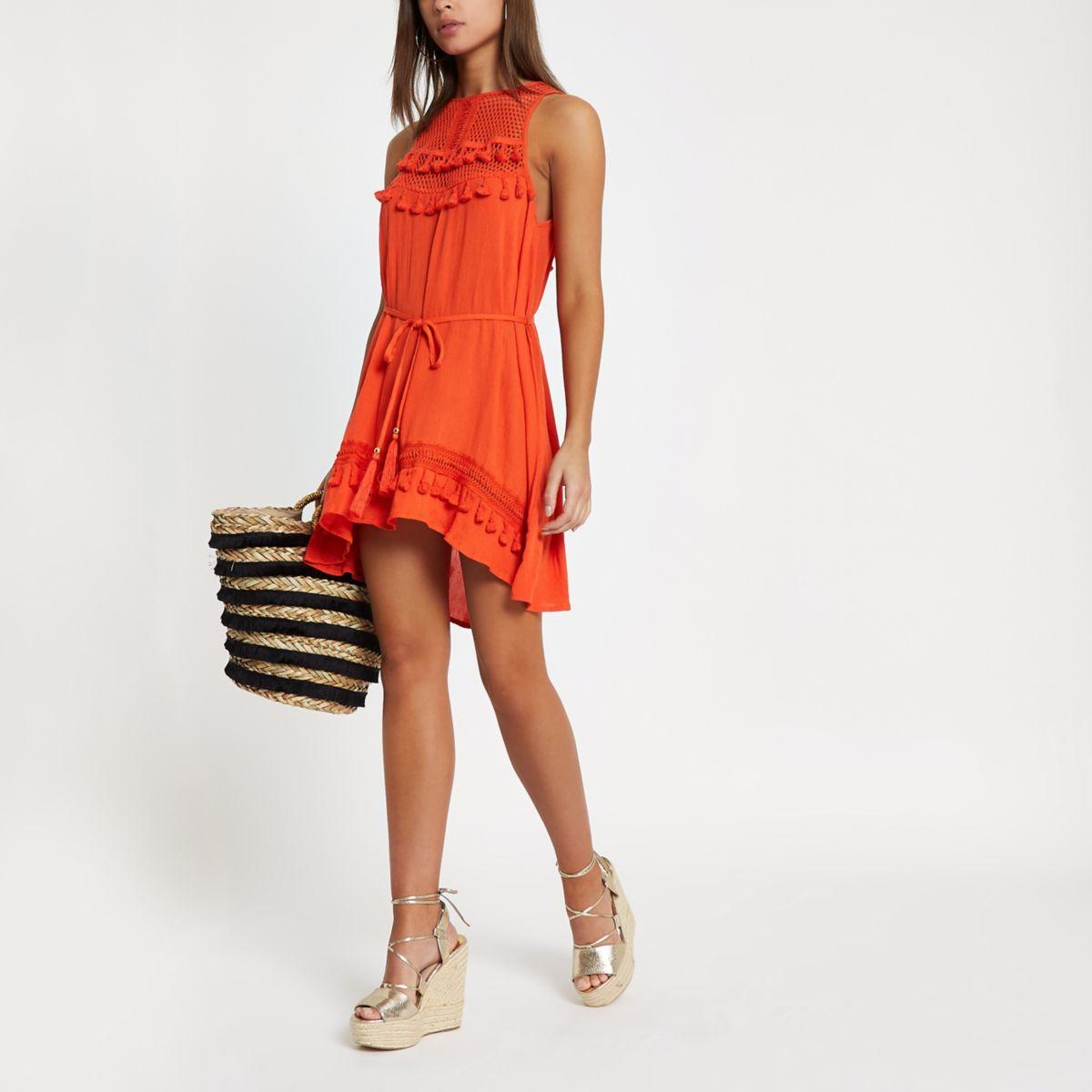 Red mesh insert tassel trim beach dress