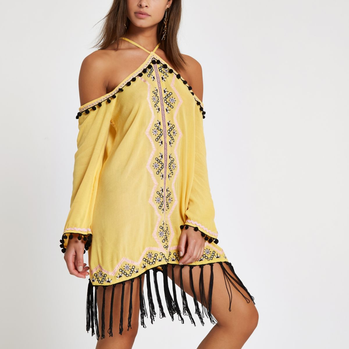 Yellow high apex embroidered beach dress