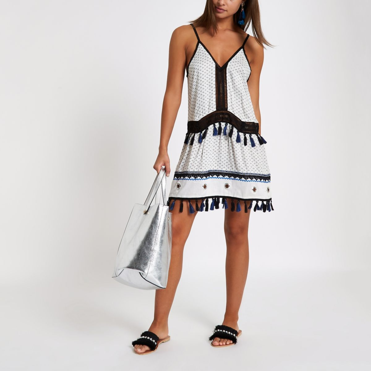 White eylelet dropped waist beach dress