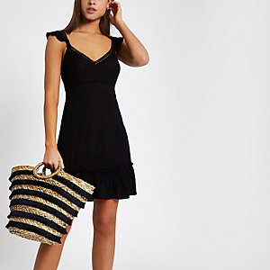 Black bow back frill hem beach dress