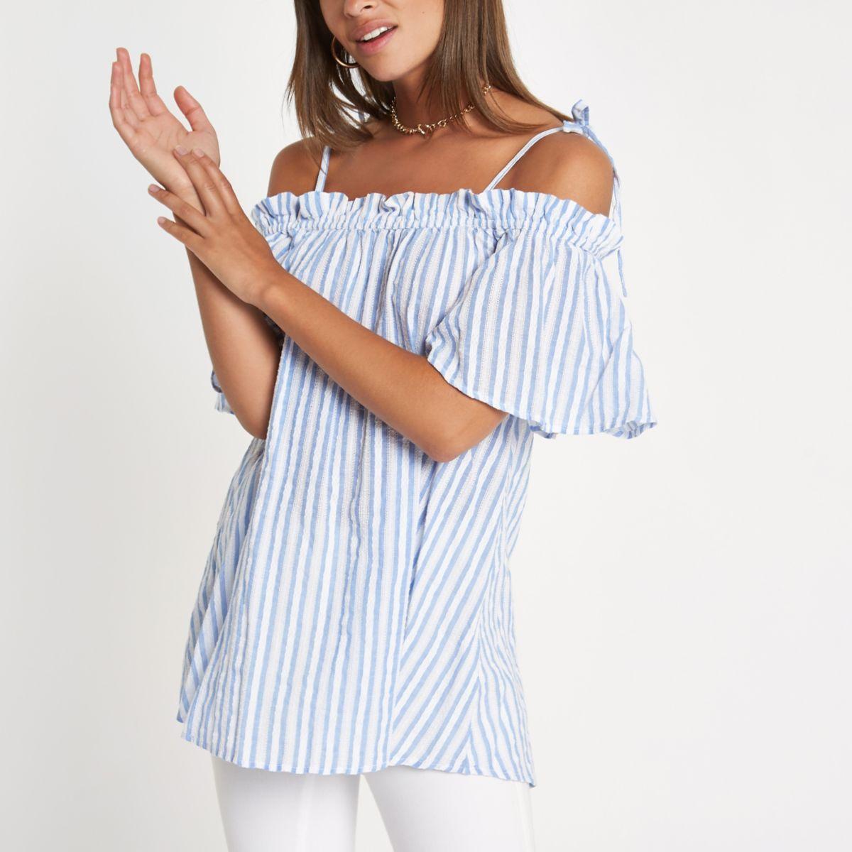 Blue stripe bow strap cold shoulder top