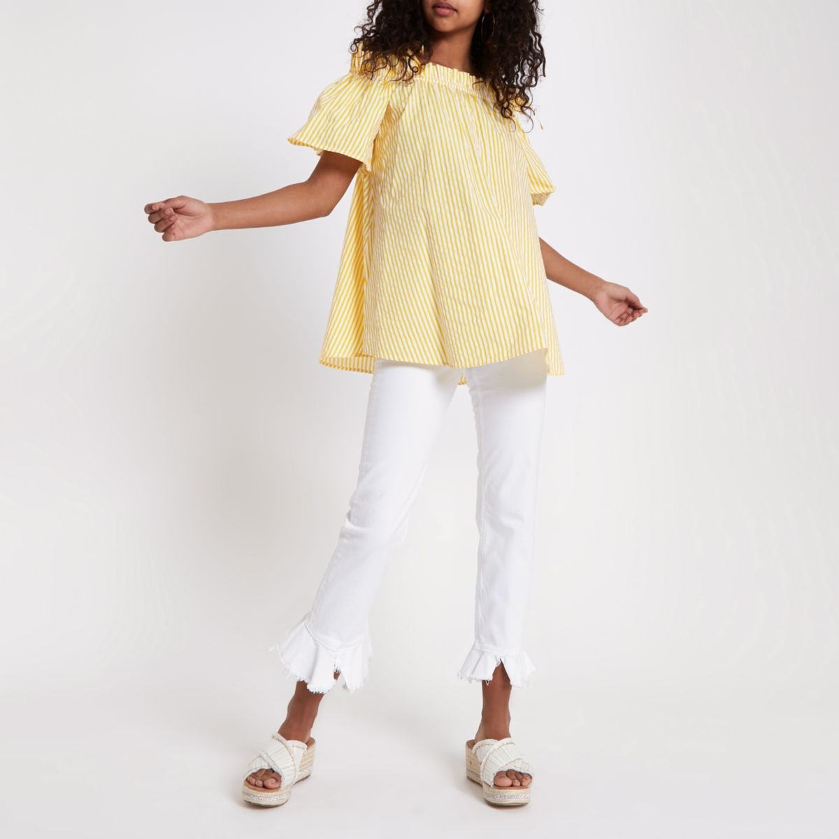 Yellow stripe bardot frill bow shoulder top
