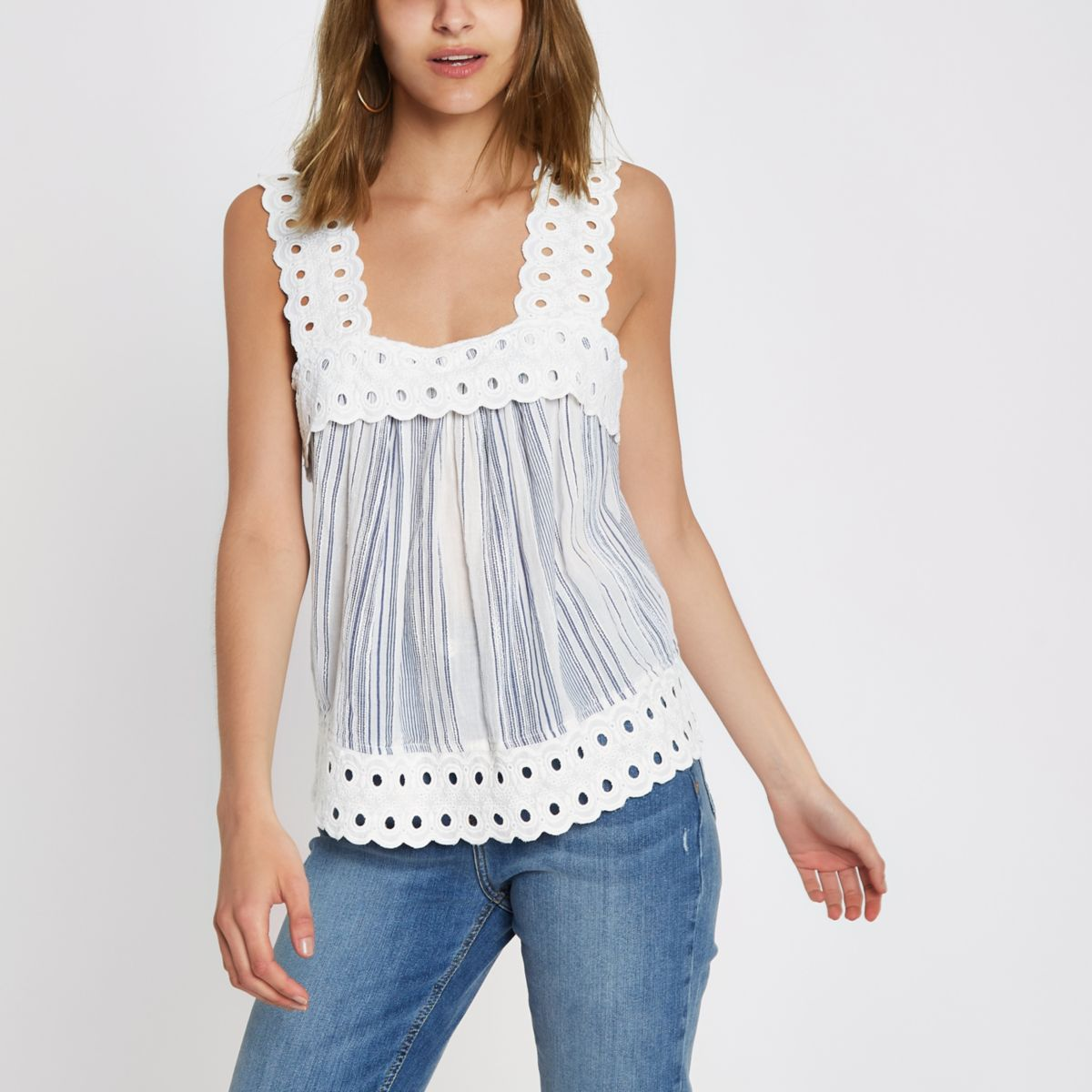 Blue stripe lace cami top
