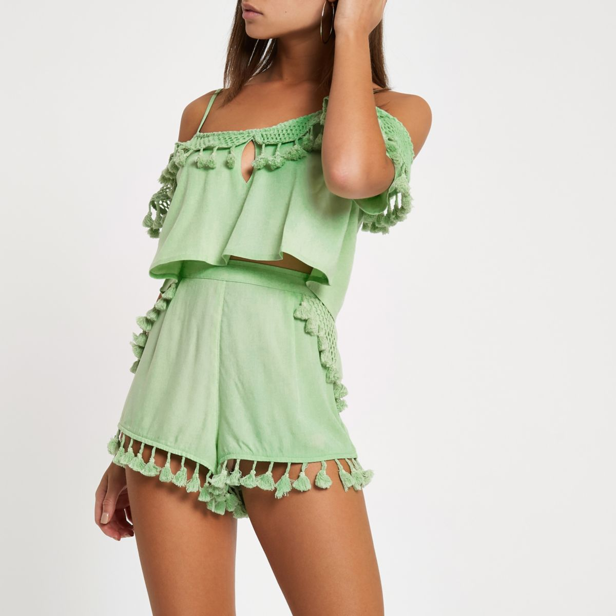 Green tassel trim beach shorts