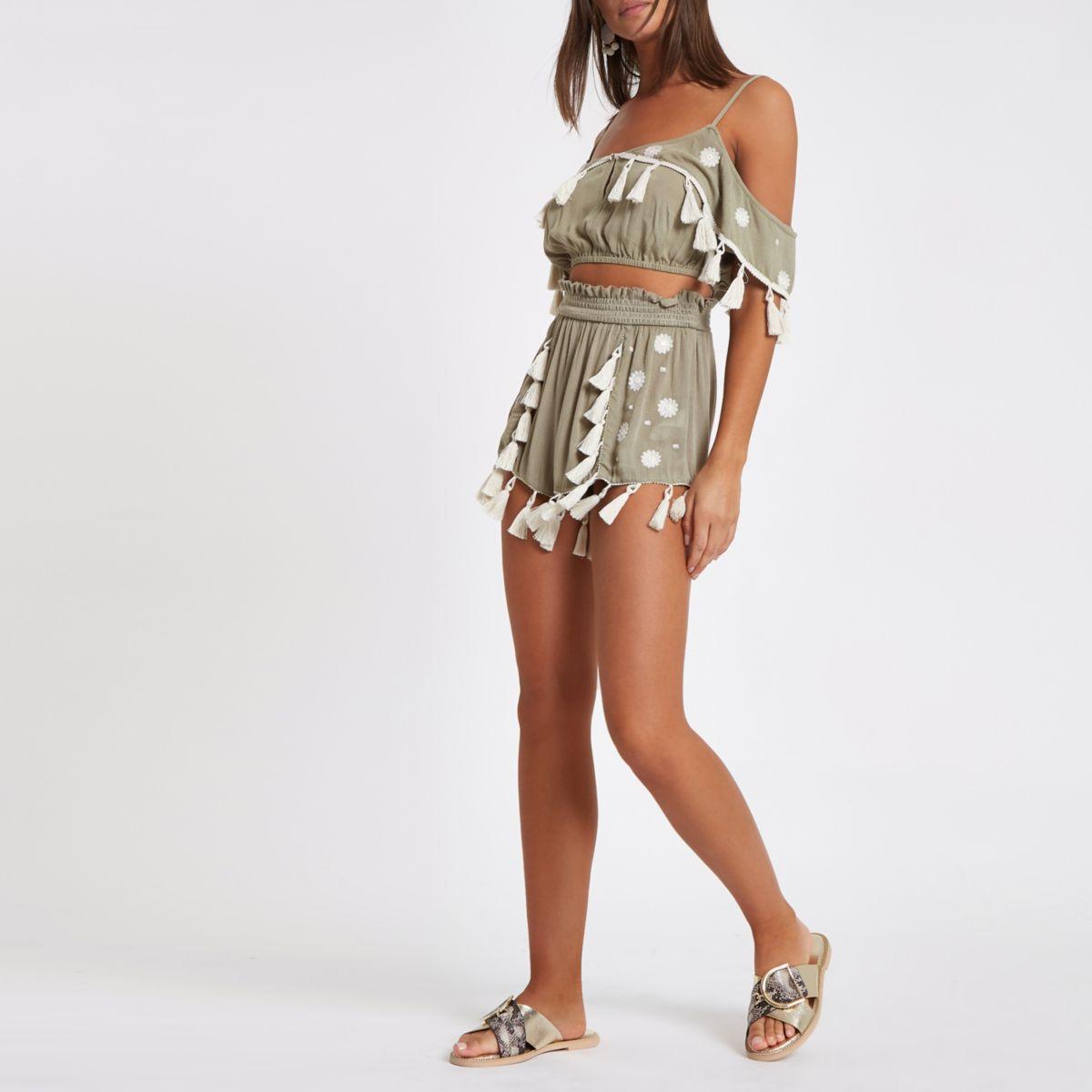 Khaki tassel trim beach shorts
