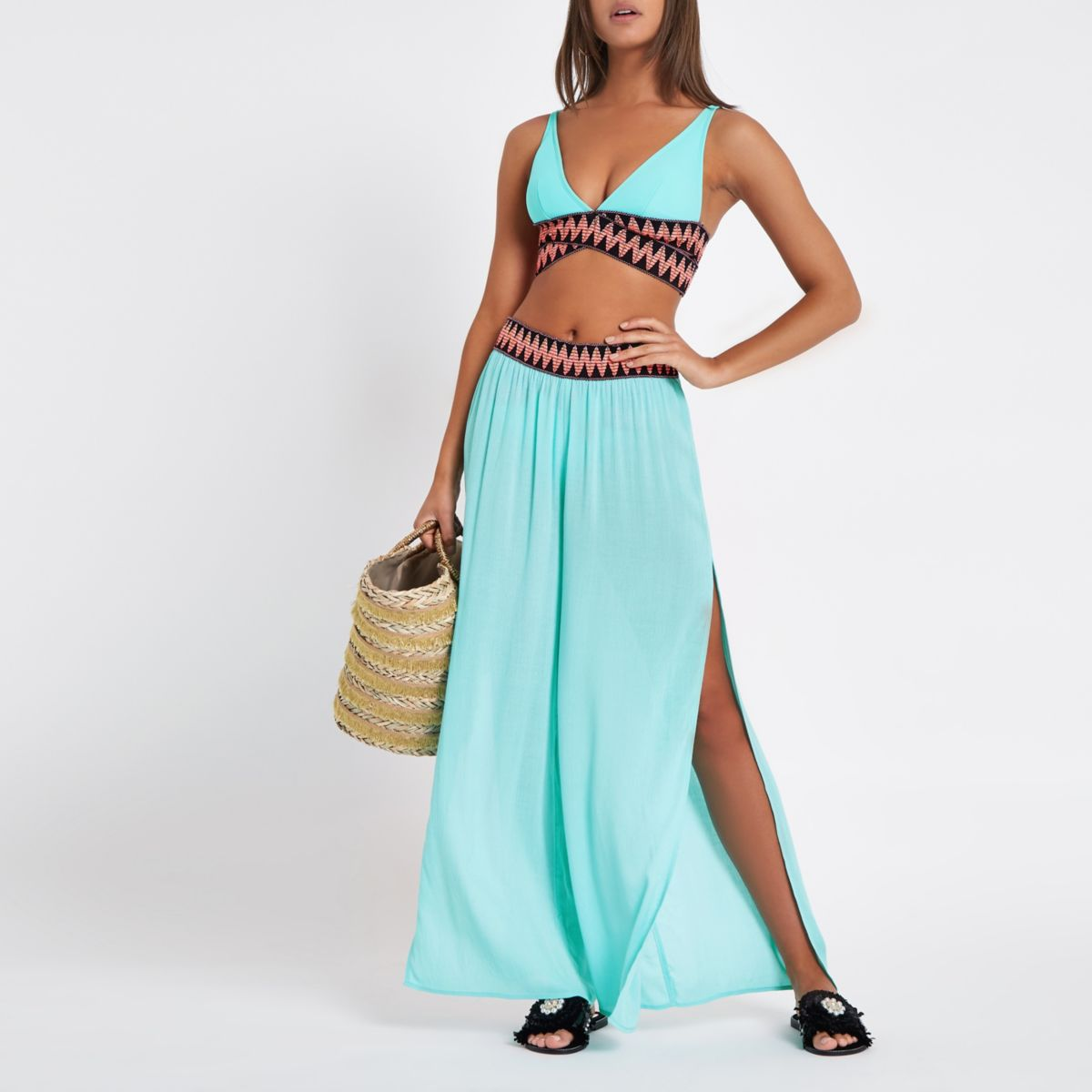 Green elasticated waist beach pants