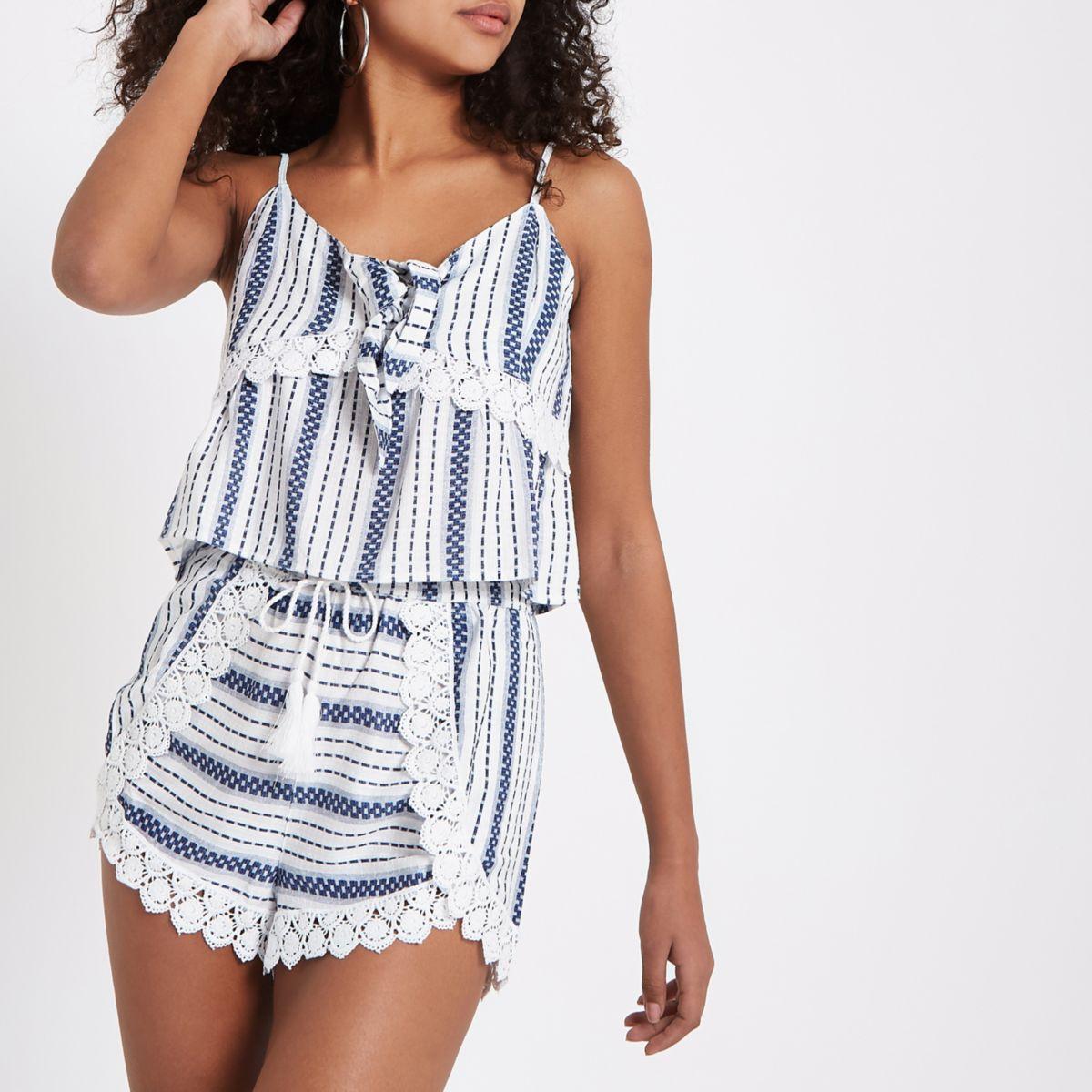 Blue stripe layered beach shorts