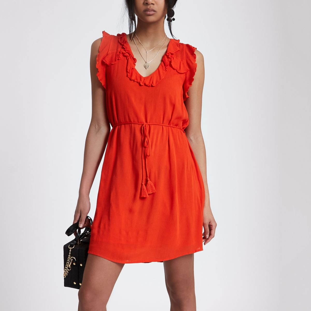Red lace-up back frill mini swing dress