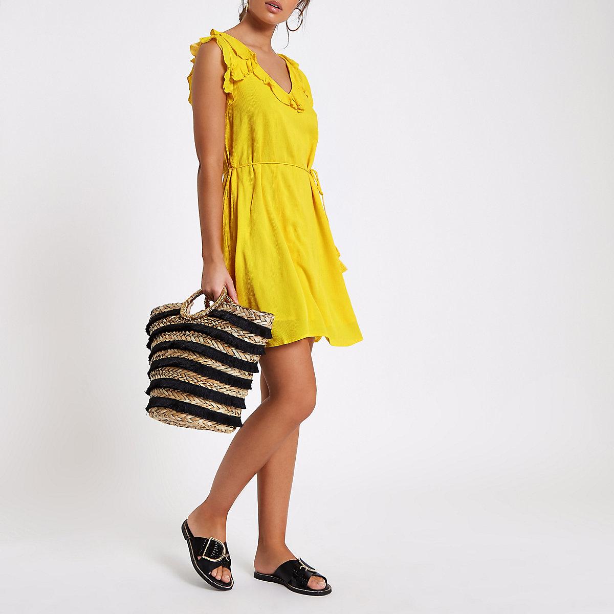 Yellow lace-up back frill mini swing dress