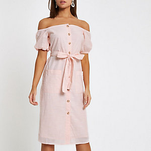 Light pink button up bardot dress
