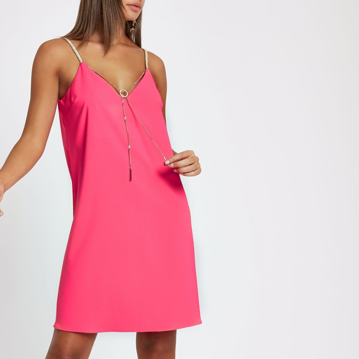 Pink braided strap chain front slip dress
