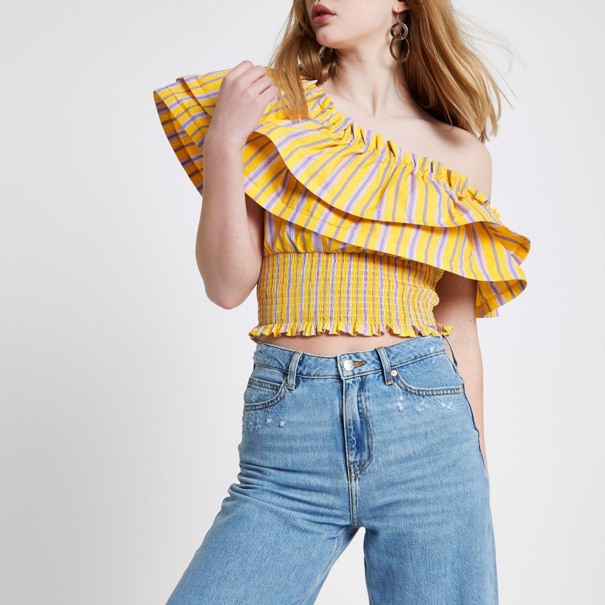 Yellow stripe one shoulder shirred crop top