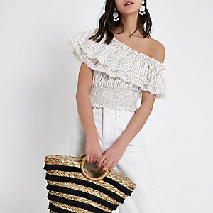Cream stripe frill one shoulder crop top